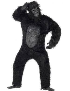 Men's Deluxe Hairy Black Gorilla Costume Front View