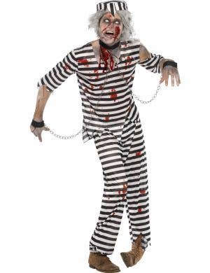 Men's Zombie Convict Prisoner Halloween Costume Front View