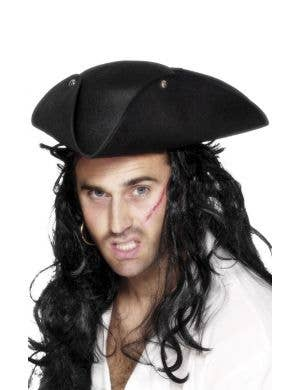 Pirate Tricorn Adult's Black Costume Hat Accessory