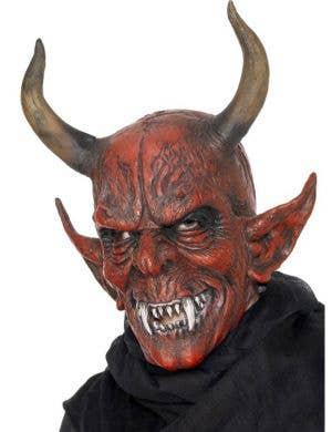 Horned Red Demon Latex Halloween Mask