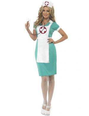 Women's Classic Blue Nurse Scrubs Costume Front Image