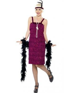 Plus Size Burgundy Red Velvet Flapper Dress for Women Front Image