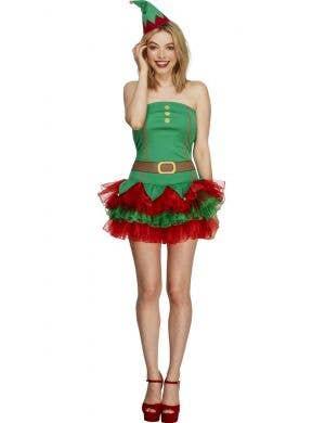 Sexy Christmas Elf Women's Fancy Dress Costume Front View
