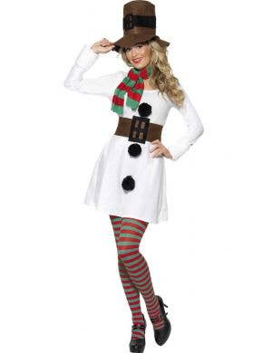 Women's Snowman Fancy Dress Costume Front View
