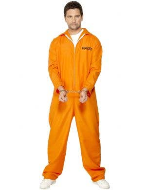 Orange Men's Escaped Prisoner Convict Fancy Dress Costumer