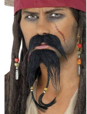 Pirate Accessory Earring Eyepatch Waistcoat Bootcovers Moustache Beard Wig