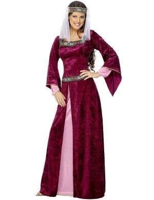 Women's Plus Size Maroon Velvet Medieval Costume Dress Main Image