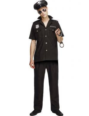Men's Black Cop Police Man Fancy Dress Costume Uniform Front View