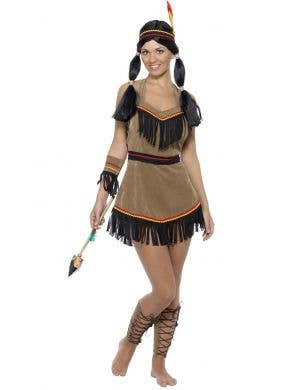 Women's Native American Indian Woman Wild West Fancy Dress Costume Main View