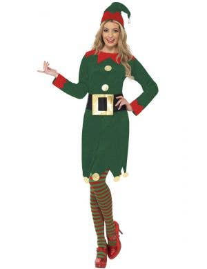 Festive Christmas Elf Women's Fancy Dress Costume
