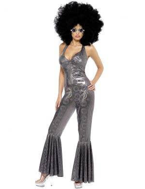 Womens Silver 70s Disco Diva Costume - Front Image