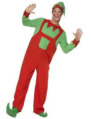 Red And Green Christmas Elf Overalls Costume Front
