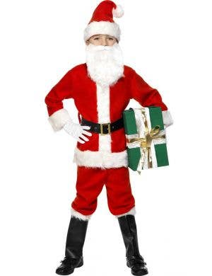 Boy's Santa Fancy Dress Christmas Costume Front View