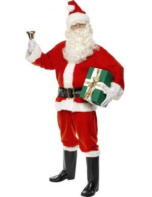 Men's White And Red Santa Claus Father Christmas Fancy Dress Costume Front Image