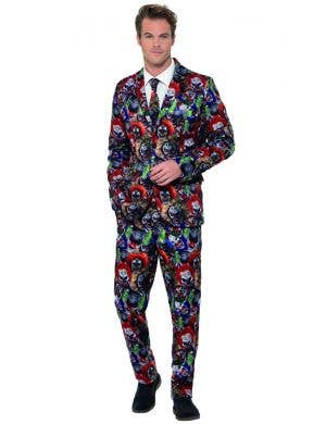Men's Deluxe Evil Clown Stand Out Suit Halloween Costume Front Image