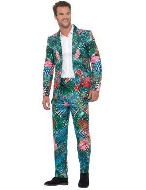 Men's Hawaiian Tropical Flamingo Suit Front Image
