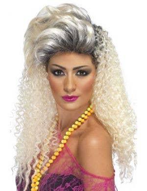 Women's Bottle Blonde 1980's Fancy Dress Costume Wig