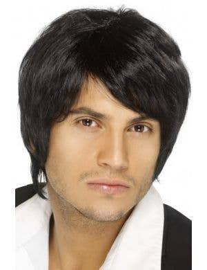 90s Boy Band Black Men's Costume Wig