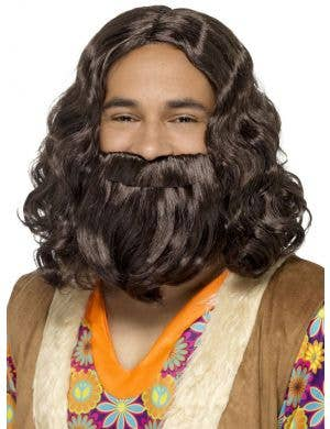 Mid Length Curly Brown Men's Hippie Costume Wig and Beard Set