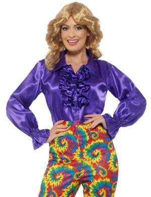 1970's Women's Purple Ruffle Satin Costume Shirt