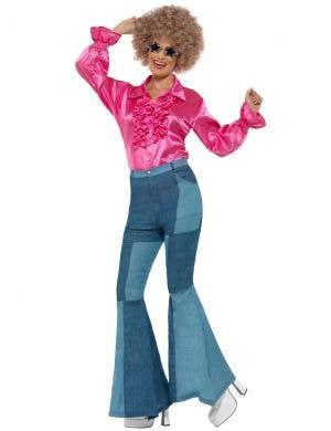 1970's Women's Pink Ruffle Satin Costume Shirt