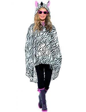 Zebra Adults Unisex Novelty Party Poncho