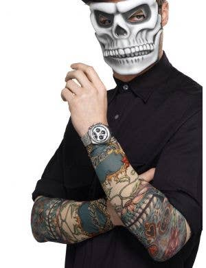 Day of the Dead Tattoo Sleeve Costume Accessory