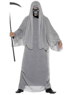Men's Grey Grim Reaper Angel of Death Halloween Costume Main Image