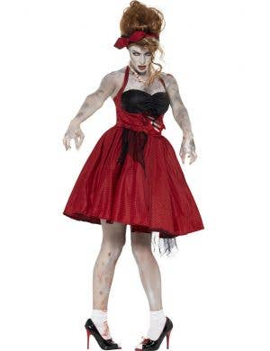 Women's 50's Red Polka Dot Retro Zombie Costume Front View