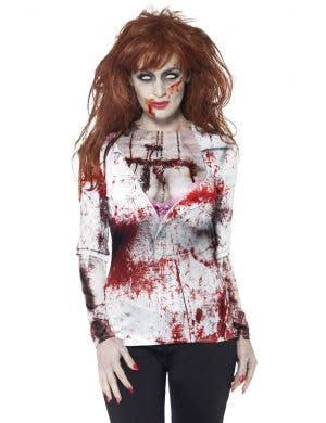 Blood Splattered T-Shirt Women's Zombie Costume