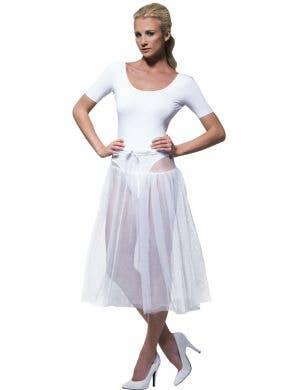 SHORT LIGHT PINK UNDERSKIRT NET TUTU 1950S FANCY DRESS COSTUME ACCESSORY NETTED