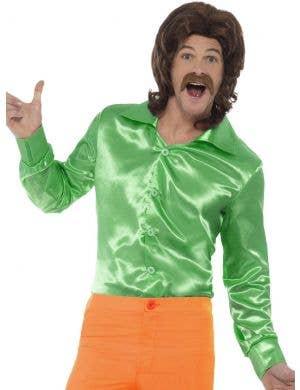 1960's Green Satin Men's Disco Costume Shirt