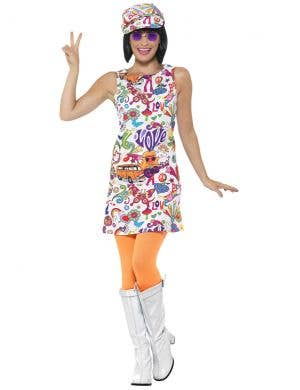 Groovy Chick Womens 60s Hippie Costume - Front Image