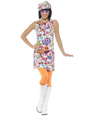 Plus Size Groovy Chick Womens 60s Hippie Costume - Front Image