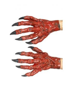 Devil Red Latex Costume Hands Accessory