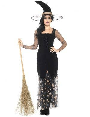 Deluxe Women's Moon and Stars Halloween Witch Costume