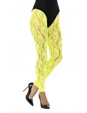 1980's Neon Yellow Lace Women's Costume Leggings