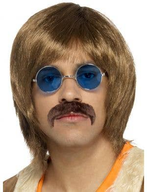 60's Hippie Men's Brown Wig and Moustache Set