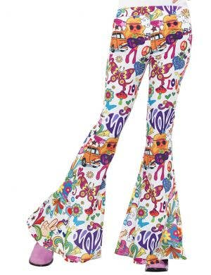 1960's Groovy Print Women's Flared Costume Pants