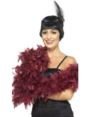 1920's Fluffy Deep Red Feather Boa Costume Accessory