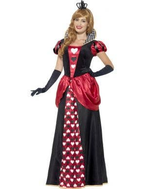 Women's Royal Red Queen Of Hearts Alice In Wonderland Inspired Fancy Dress Costume Main Image