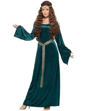 Women's Plus Size Green Medieval Costume Dress - Front Image