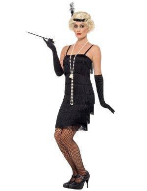 Women's Plus Size Black Fringe Flapper Dress Front Image