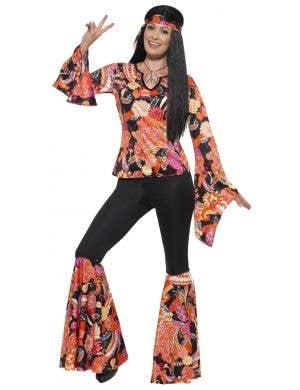 Plus Size Women's 1970s Hippie Dress Up Costume Front Image