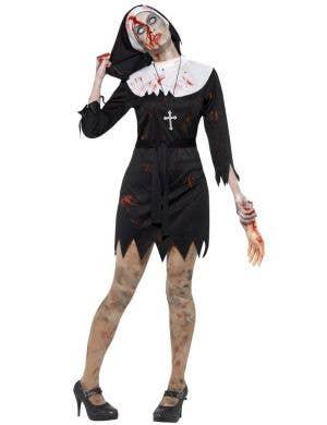 Women's Black And White Halloween Zombie Nun Sister Blood Splattered Fancy Dress Costume Main Image