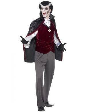 Men's Black Grey And Maroon Velveteen Classic Halloween Vampire Costume Main Image