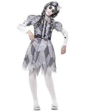 Women's Damaged Doll Halloween Broken Grey And White Patchwork Fancy Dress Costume Main Image