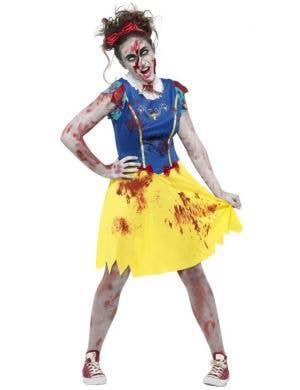 Teen Girl's Snow White Zombie Halloween Fancy Dress Costume Main Image