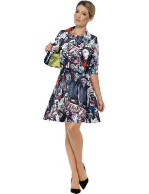 Women's Zombie Print Halloween Stand Out Suit Dress and Jacket Costume Main Image