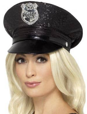 Sequinned Black Police Hat Costume Accessory